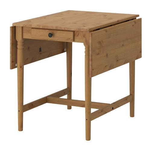 IKEA - INGATORP, Drop-leaf table, Table with drop-leaves seats 2-4; makes it possible to adjust the table size according to need.Solid pine; a natural material that ages beautifully.The clear-lacquered surface is easy to wipe clean.