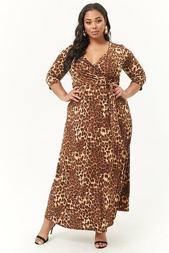 dfe2f63627cc Plus Size Leopard Print Maxi Dress   Products   Dresses, Trendy plus ...