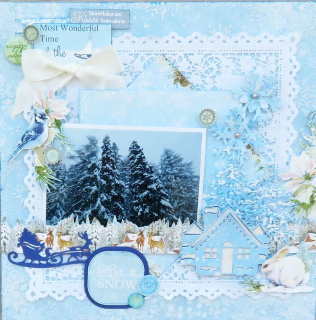 ScrapBerry's: Simply stunning winter lay-out by Irit Shalom with the A Taste of Winter collection. #scrapbooking #lay-outs #winter