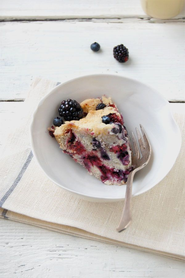 blackberry blueberry buckle cake - dairy free, gluten free