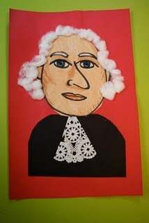 George Washington mixed media portrait for Presidents' Day: George Washington, Media Portraits, Art Lessons, For Kids, U.S. Presidents, Mixed Media, Challenges Weeks, Presidents Day, Kids Art Projects