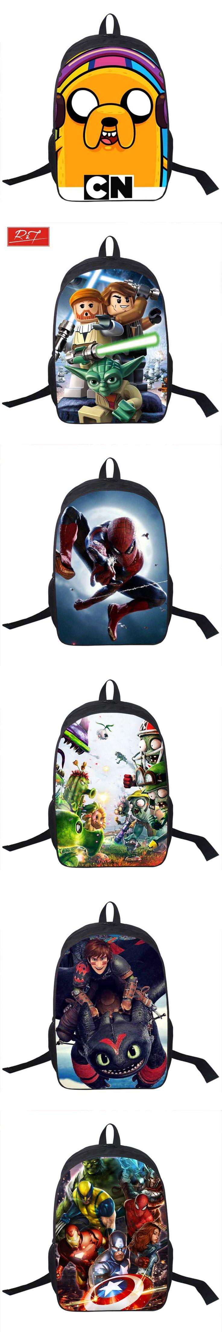Young Men Star Wars Bag Anime Adventure Time Backpack For Teens Boys Hero Batman Spiderman Bag kids School Bags Daily Backpacks $27.82