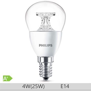 Bec LED Philips 4W E14, forma clasica P45, lumina calda