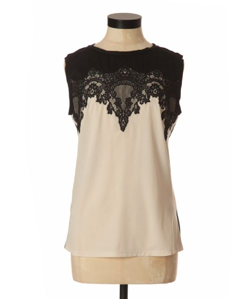 bootlegger.com : kismet astaire lace top in creme and black  or mint and creme