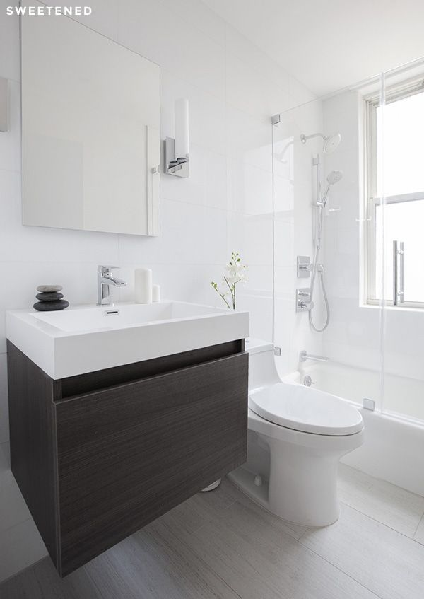 All white Midtown East Bathroom with Kohler recessed