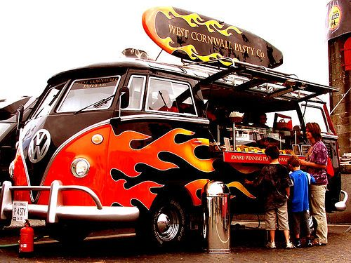 Flame Grilled VW Camper Van A Classic Split Screen Camper van, with flames down it, full of Pasties…..! & There's no-doubting they aren't hot! Pay particular attention to the Fire Extinguisher & that smoking HOT REG Plate!  http://www.rentacampervan.com.au/vw-campervans/10-beautiful-vw-campervans-kombis