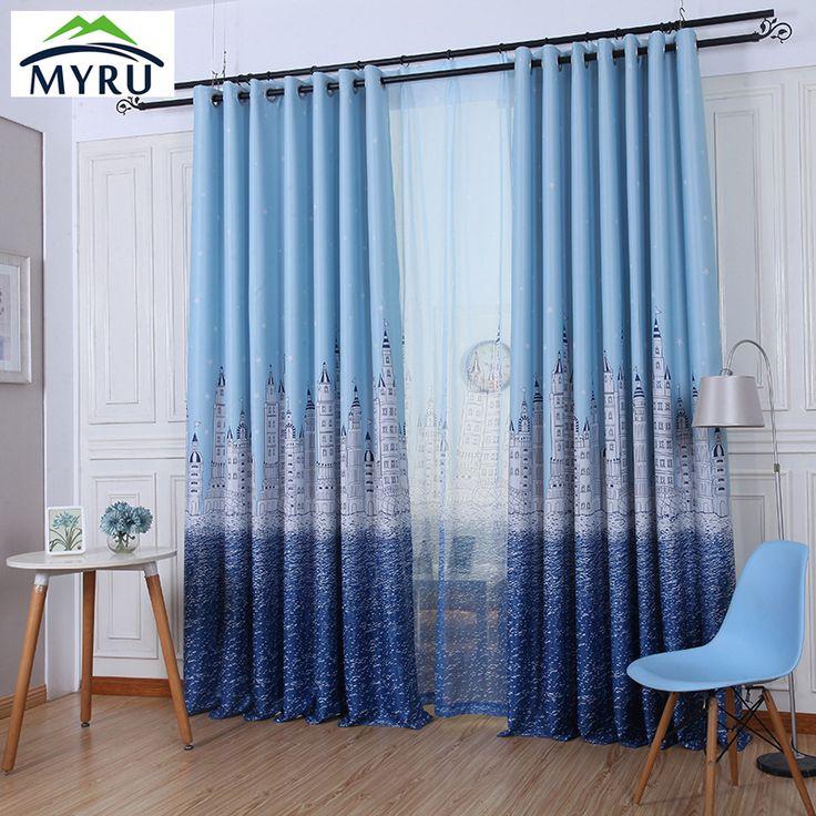 MYRU High Quality Blackout Curtains,Cartoon Castle Window Drapes,Blue  Curtains For Kids Room Part 82