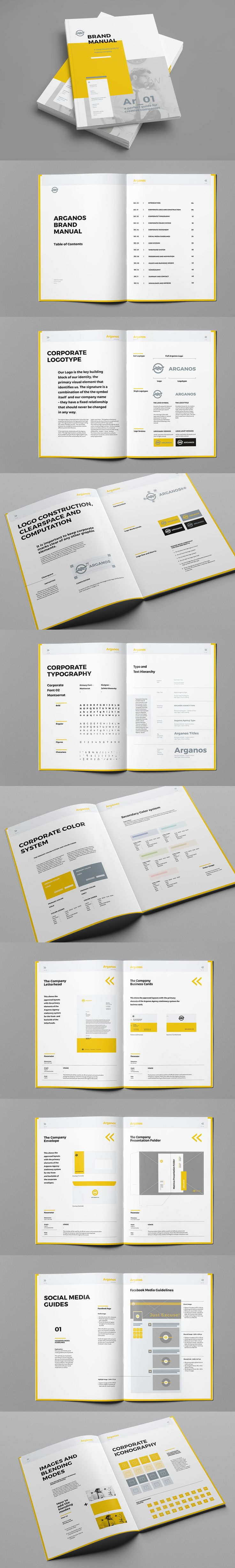 Brand Manual Template InDesign INDD - 48 Pages, A4 & US Letter size