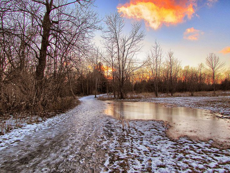Sunset fired along the icy path