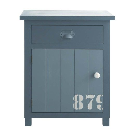Wooden bedside table with drawer in grey W 34cm