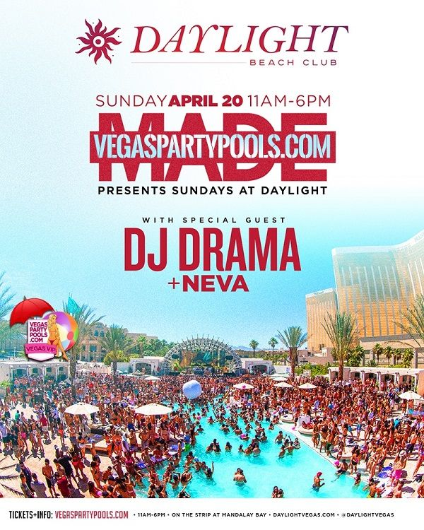 DAYLIGHT Beach Club Mandalay Bay Sunday, April 20, and every Sunday thereafter, opens its doors to patrons dressed in their Sunday bests—barely-there bikinis and sky-high heels or board shorts and white tanks—waiting to worship at the mecca of the Daylife, located at 3950 S Las Vegas Blvd in Las Vegas, NV 89119, from 11 a.m. to 8 p.m..  Check out Celebs Spotted at Daylight Beach Club at Mandalay Bay! http://celebhotspots.com/hotspot/?hotspotid=31875&next=1