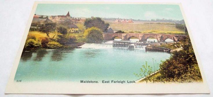 East Farleigh Lock at Maidstone - Kent - Antique Postcard c1910