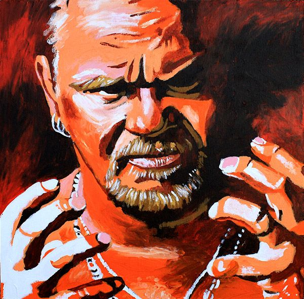 "Shane Douglas l Acrylic on 24"" x 24"" wood"