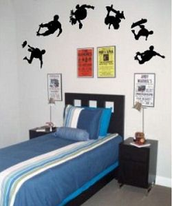 Boys Skateboard Theme Bedroom With Skateboarding Wall Decals And Stickers And A Blue Comforter Set