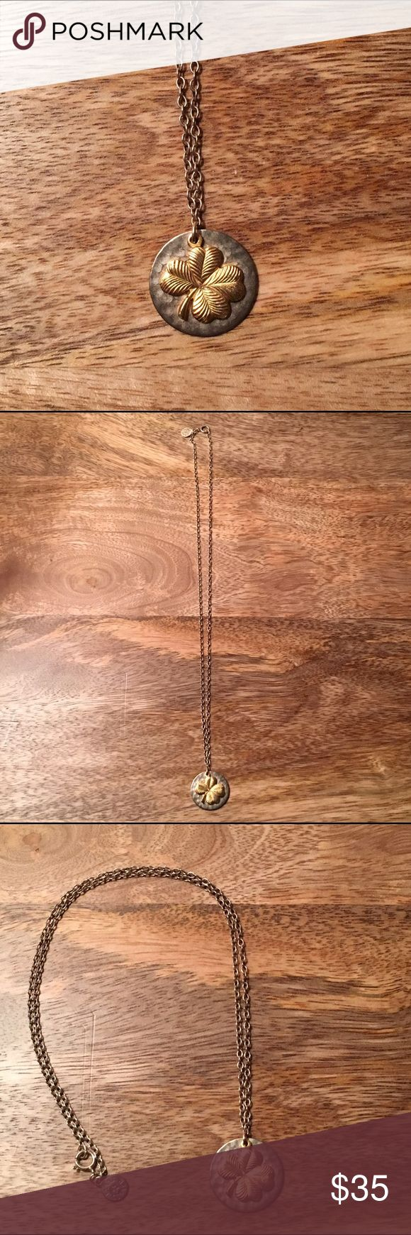 "Four Leaf Clover Necklace Gold Four Leaf Clover on a Silver Disc. 16"" chain. Jewelry Necklaces"