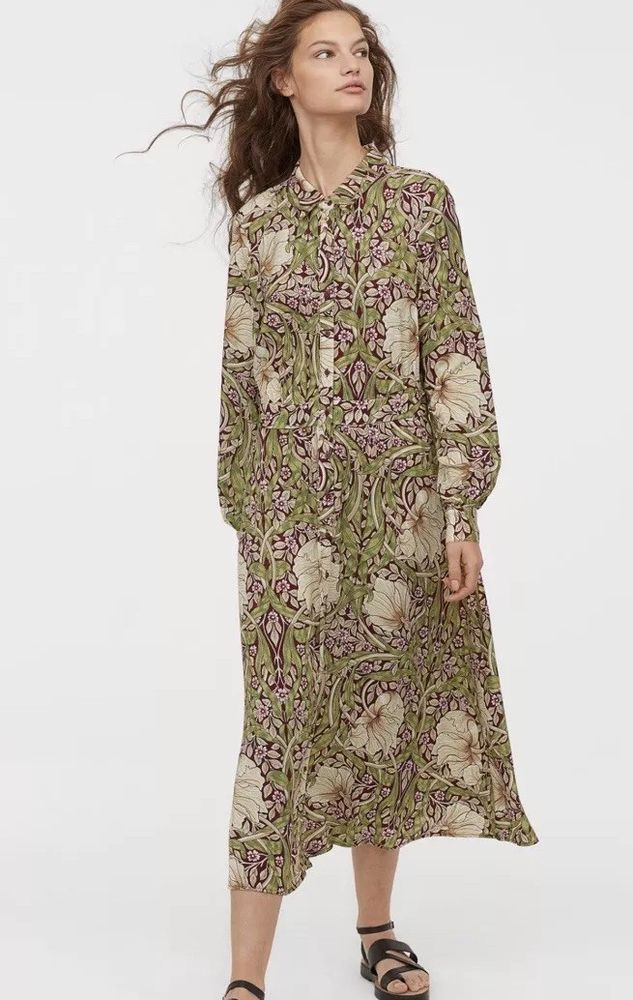 57a16b2a071d H&M William Morris Sold Out Midi Maxi Shirt Dress Beaut Uk 14 Sold Out New  Print