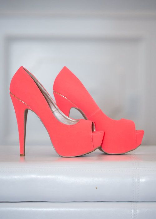 Neon Coral Open Toe Heels CLEARANCE