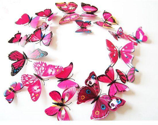 3D Vlinders Muur Sticker / Muurdecoratie - Kinderkamer & Babykamer - Roze