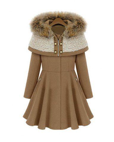 Stylish Hooded Long Sleeve Spliced Faux Fur Embellished Women's Coat