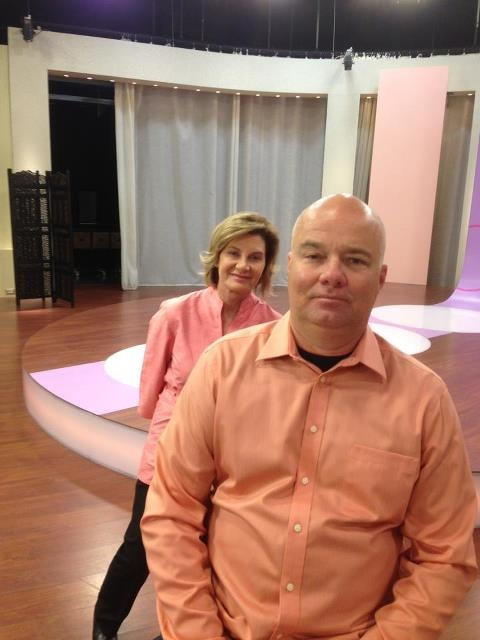 The Boss moonlighting as our GENIE model and our lovely model Rita on the set at QVC Italy