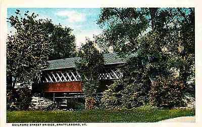 Brattleboro Vermont VT 1916 Guilford Street Covered Bridge Vintage Postcard Brattleboro Vermont VT 1916 Guilford Street covered bridge. Unused American News Company collectible antique vintage postcar                                                                                                                                                                                 More