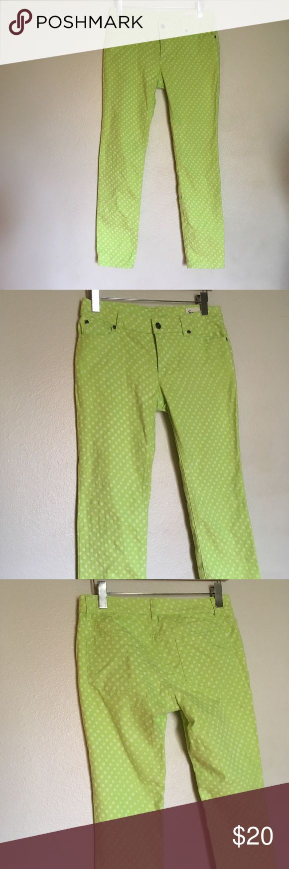 Two by Vince Camuto pants Lime green pants with white polka dots Two by Vince Camuto Jeans