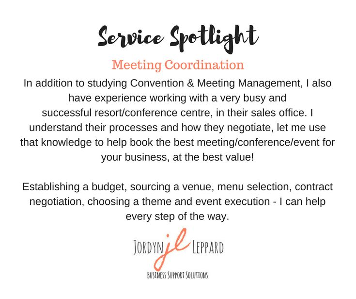 In addition to studying Convention & Meeting Management, I also have experience working with a very busy and successful resort/conference centre, in their sales office. I understand their processes and how they negotiate, let me use that knowledge to help book the best meeting/conference/event for your business, at the best value!