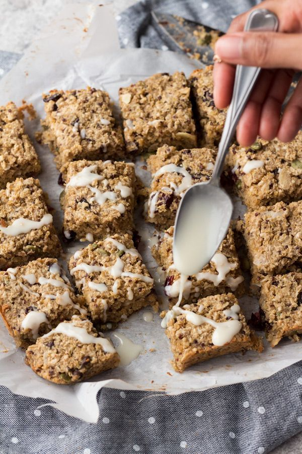 These coconut chai quinoa breakfast bars are vegan, gluten-free, refined sugar-free, filled with plant-based protein & make great grab & go vegan breakfasts