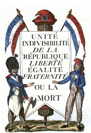 French Patriotism, as decided in the aftermath of the French Revolution. Bleu-blanc-rouge!