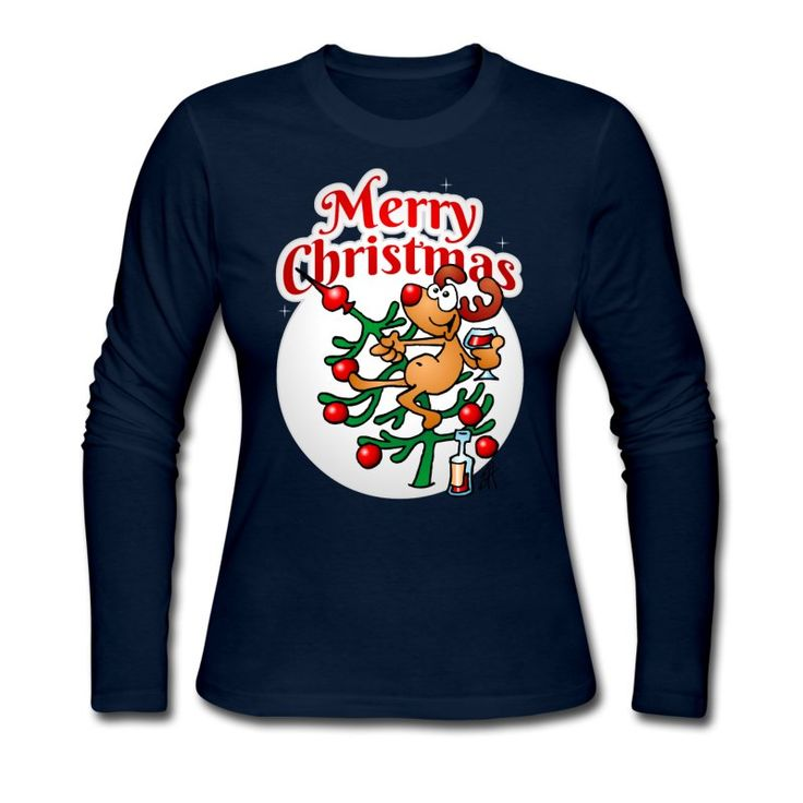 Merry Christmas - A reindeer in a Christmas tree longsleeve T-Shirt.    #christmas #tshirt #longsleeve #sweater #reindeer #christmastree #xmas #gift #gifts #christmasgift #giftidea #giftideas #fashion #funny #spreadshirt    A reindeer in a Christmas tree drinking a glass of wine wishing everyone a merry Christmas.