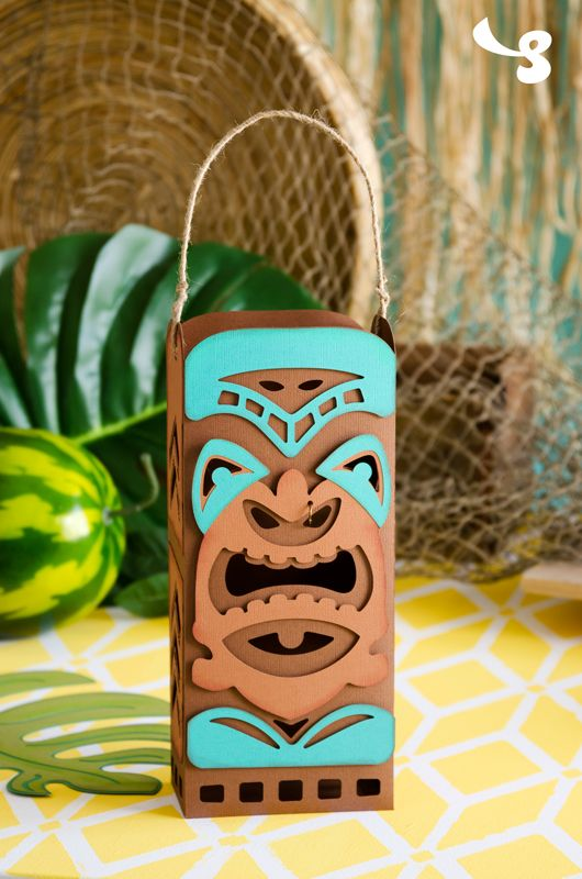 DIY Paper Tiki Statue Lantern - perfect for Luau or party gift! Can also be a gift bag.