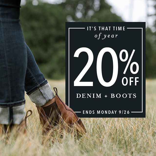 The event you love is back! Those boots and jeans you've been eyeing are 20%…