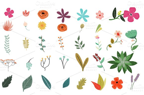 Vintage Vector Flowers by Mia Charro on Creative Market