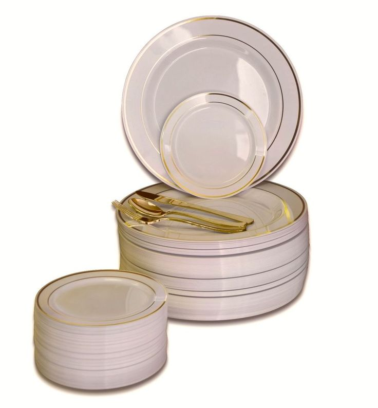 OCCASIONS Wedding Party Disposable Plastic Plates & Gold Silverware - Customize! #OCCASIONSFINESTPLASTICTABLEWARE #WeddingAnniversaryChristmasBirthdayParty