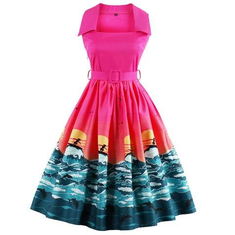 This Atomic Pink Surfer Sleeveless Swing Dress features an A-line silhouette with modern style printing on the ruffled skirt, square neckline, and a waist belt with a pullover closure. https://atomicjaneclothing.com/products/atomic-pink-surfer-sleeveless-swing-dress
