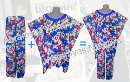 Купить брючный летний шифоновый костюм большого размера в интернет-магазине с цветами-розами