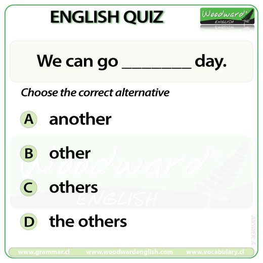 Woodward English Quiz 11 See the difference between Another, Other, Others and The Others here: http://www.grammar.cl/english/another-other-others.htm