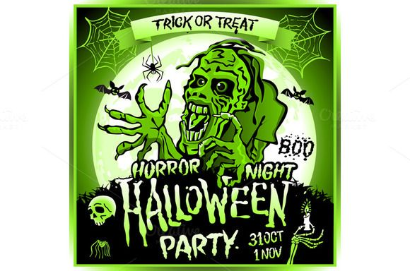 Zombie full moon halloween party art by Rommeo79 on @creativemarket