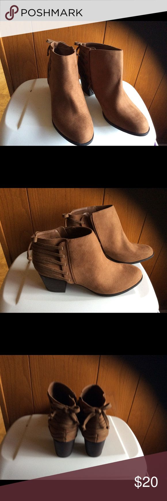 Ladies ankle boots Tan ankle boots zip inside, have nice laces in back for design indigo rd Shoes Ankle Boots & Booties