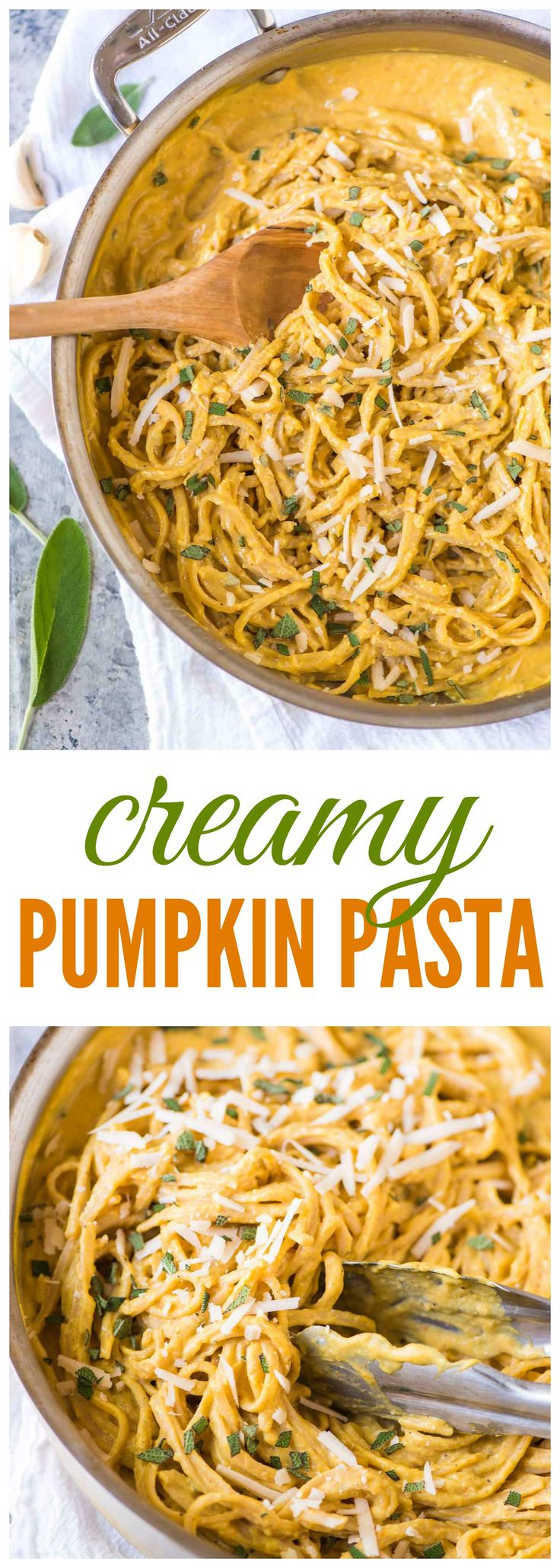 Creamy Pumpkin Pasta. Comes together in MINUTES. Easy, healthy, and absolutely…