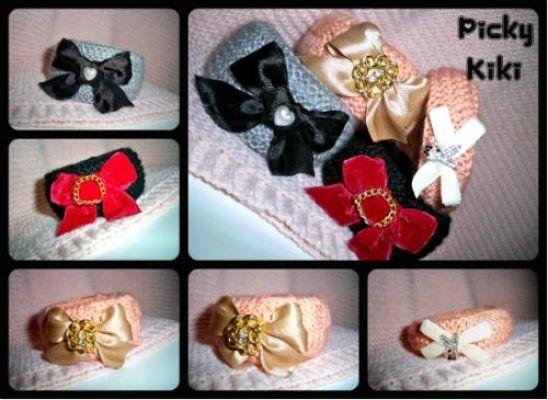 Vintage style | myartshop Πλεκτά κοκκάλινα βραχιολάκια με φιόγκους σε βελούδο ή σατέν και πέρλες ή αλυσίδες.