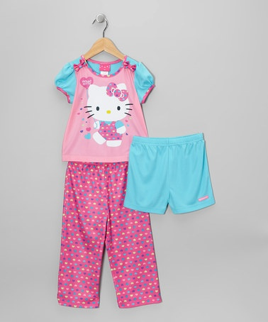 Take a look at this Pink & Aqua Hello Kitty Pajama Set - Toddler by AME on #zulily today!