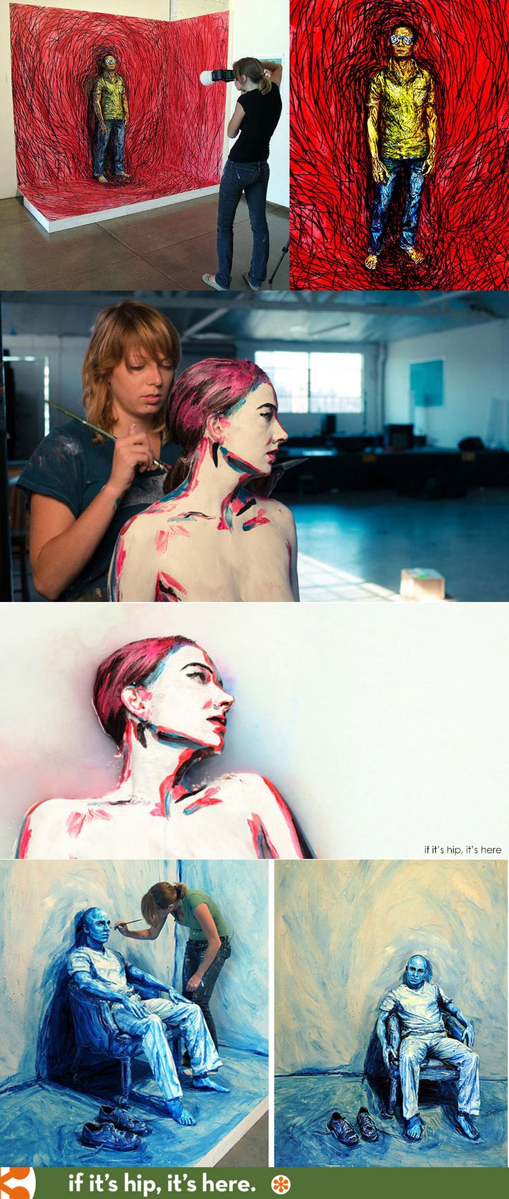 Artist Alexa Meade turns 3D into 2D by applying paint directly on her subjects instead of on a canvas. More at http://www.ifitshipitshere.com/body-canvas-artist-alexa-meade-shares-process-work/