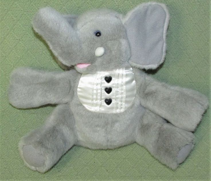 Vintage TUXEDO ELEPHANT Plush Stuffed Animal Gray with White Collar Heart Button #unmarked