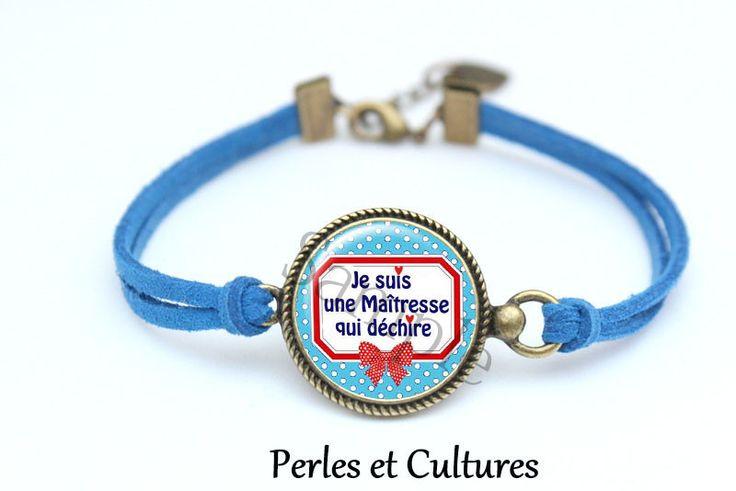 Bracelet liberty poisღJe suis une Maîtresse qui déchire ღ Cadeau pour la maitresse! ღ noeud cabochon ღ verre ღcoeur : Bracelet par perlesetcultures