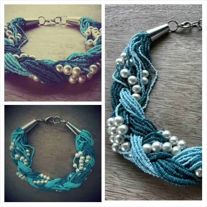 Collar trenzado perlas con mostacilla
