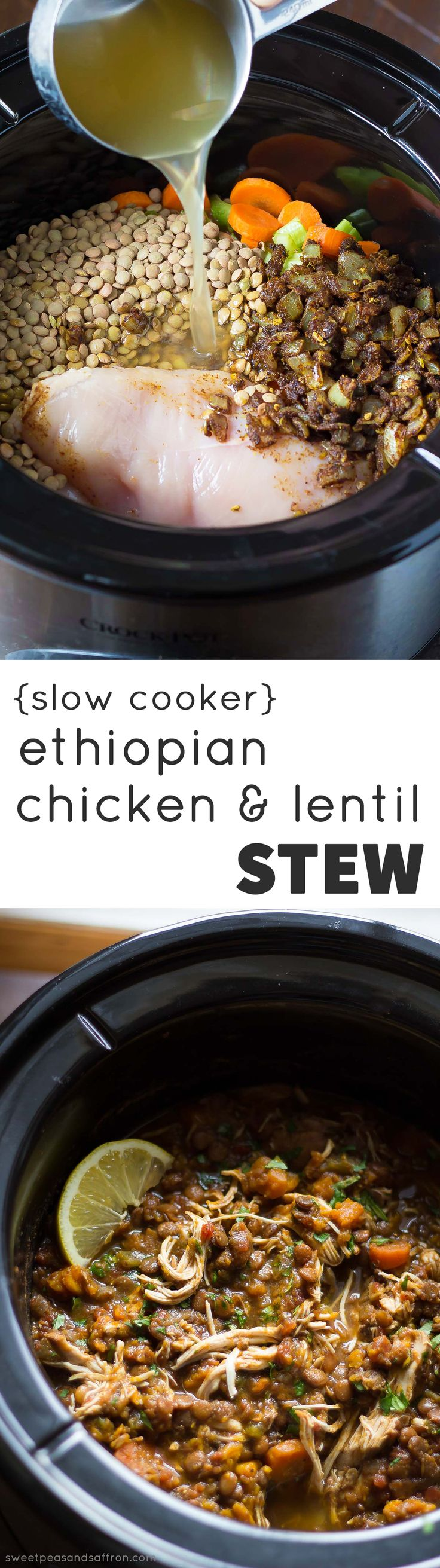 Slow Cooker Chicken & Lentil Ethiopian Stew, made with sweet potatoes and carrots.