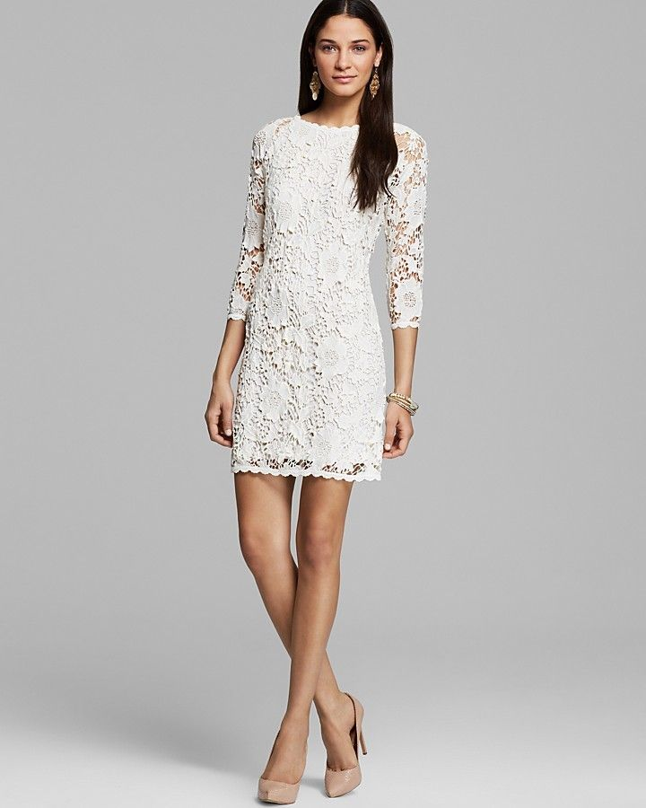 Velvet by Graham & Spencer Dress - Leslea Crochet Lace, white lace dress  with sleeves