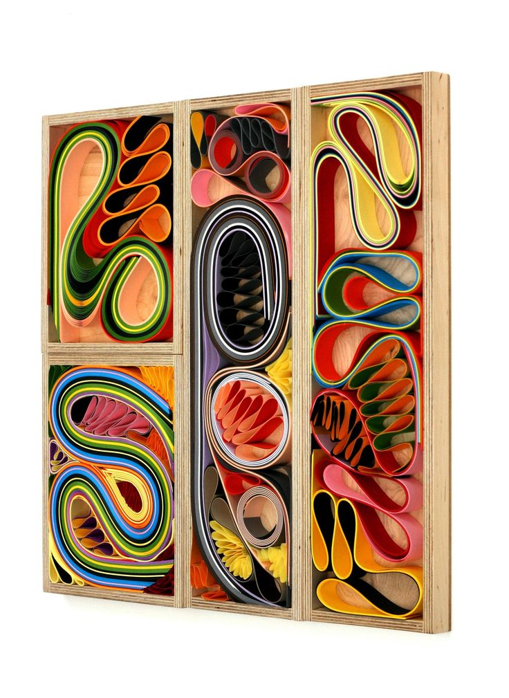 melanie rothschild, artist   -   bent paper in wooden trays, multi-colors
