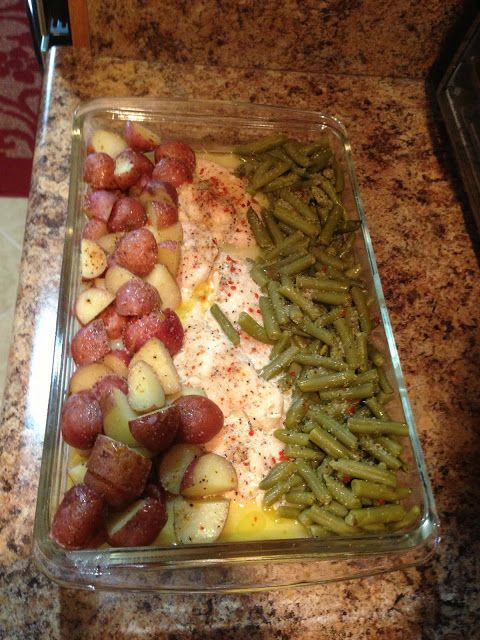 Ingredients: 6-7 pieces of thawed chicken 2 cans of green beans 1 small bag of red potatoes 1 packet of dry Italian dressing 1 stick of melted butter Directions: Preheat oven to 350 degrees Quarter the potatoes, drain the green beans. Arrange food in 9x13 pan. Sprinkle Italian dressing over everything, then drizzle the melted butter over everything. Cover with aluminum foil. Bake for an hour. Then eat!